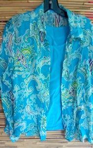 Cynthia Taylor Turquoise Shirt Set Sz S